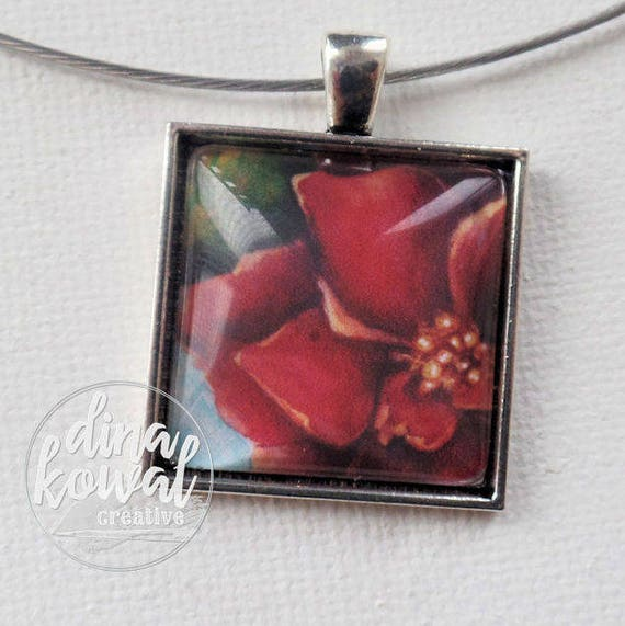 Red Rose - domed glass tile pendant necklace