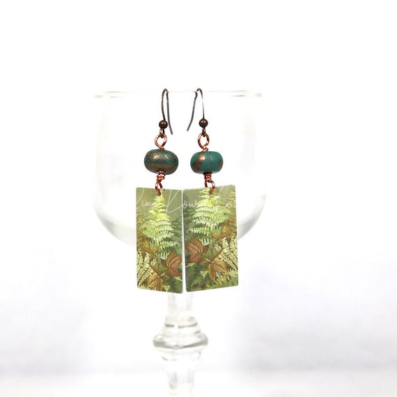 Faux Tin Copper Tile Earrings - Vintage Botanical
