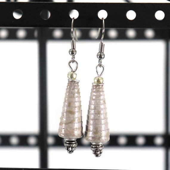 Paper Bead Earrings - Grey Cone