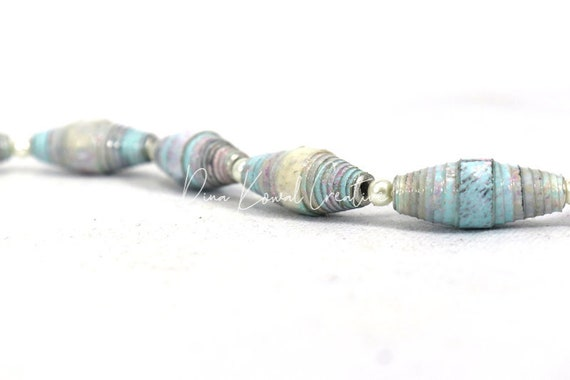 "Handmade paper beads - half strand (8"") - small batch, eco-friendly"