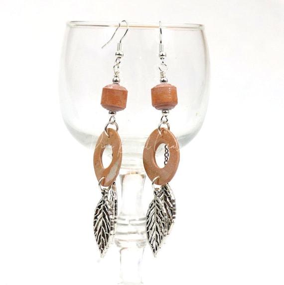 Polymer Clay Bead Earrings - Long Leaf Dangle