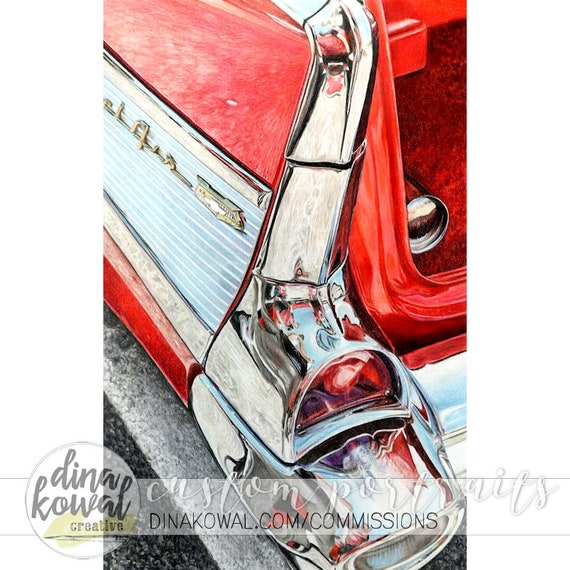 Bel Air Reflections art print - classic vintage 57 Chevy car