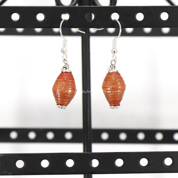 Paper Bead Earrings - Copper Bicone