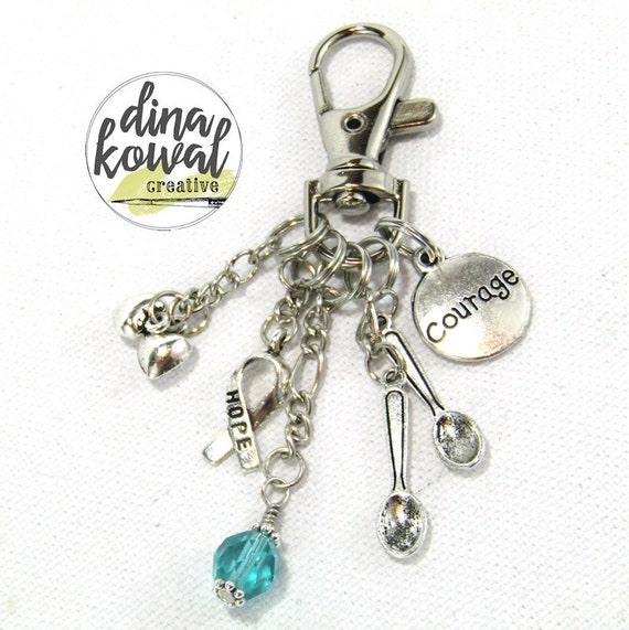 Purse Charm - Spoonie Courage Awareness Chronic Illness Zipper Pull Keychain