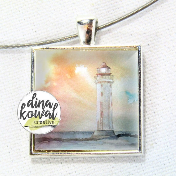Lighthouse sunset - domed glass tile pendant necklace