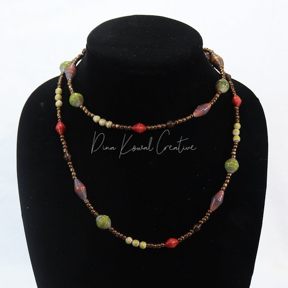 Beaded Lariat Rope Necklace or Wrap Bracelet - handmade paper beads with glass seed beads
