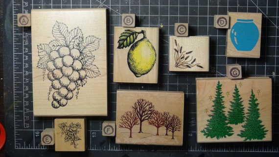 Rubber Stamps - YOU CHOOSE - wood mounted lot E2- fruit tree nature theme