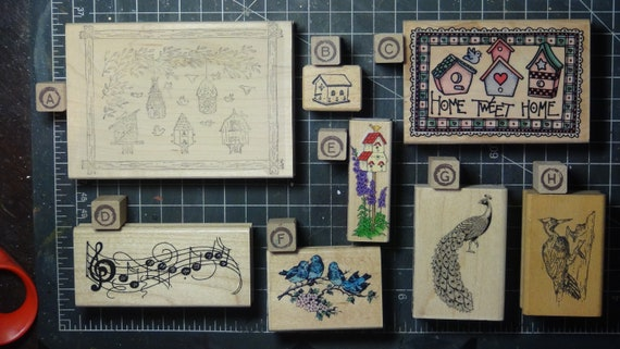 Rubber Stamps - YOU CHOOSE - wood mounted lot A1 - bird and birdhouse theme