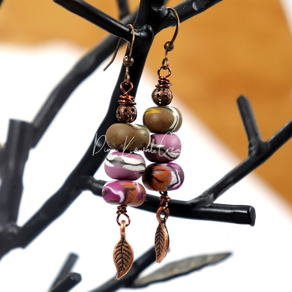 Polymer Clay Bead Earrings - Autumn Wisteria Drop