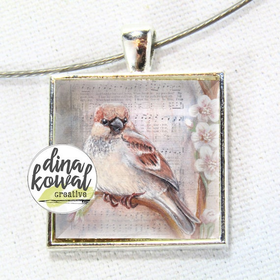 Sparrow - spring hymn - domed glass tile pendant necklace
