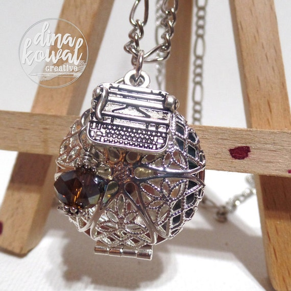Essential Oil Diffuser Locket - Typewriter