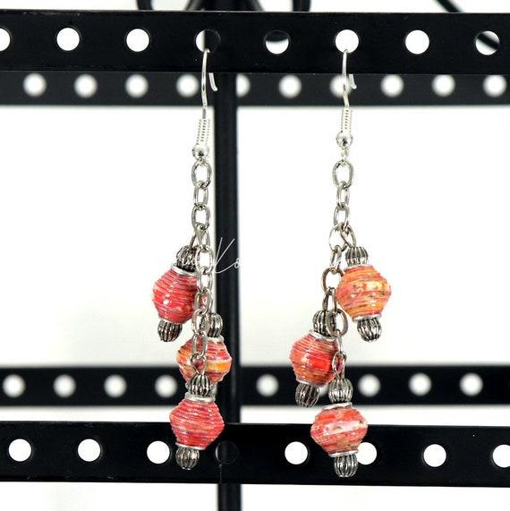 Paper Bead Earrings - Mini Bicone Chain Dangle
