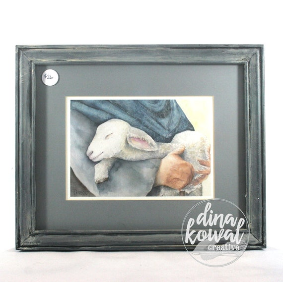 "Held - Shepherd and Lamb -  5""x7"" - matted and framed print"