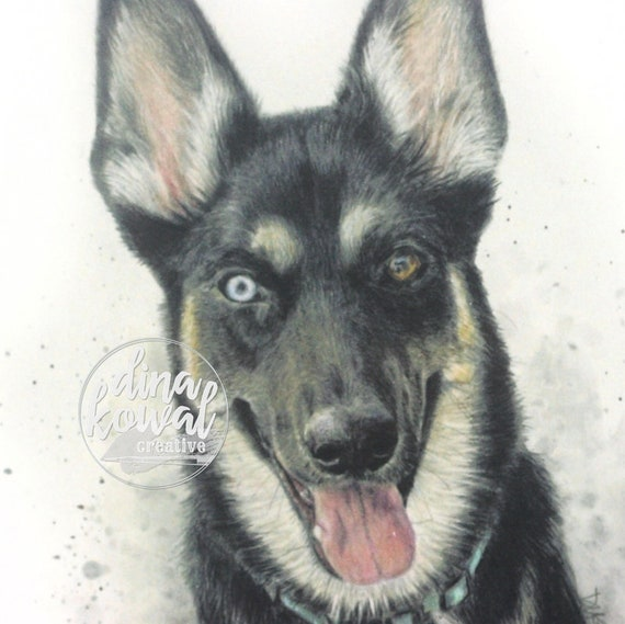 Notecards (set of 3) - German Shepherd Husky dog
