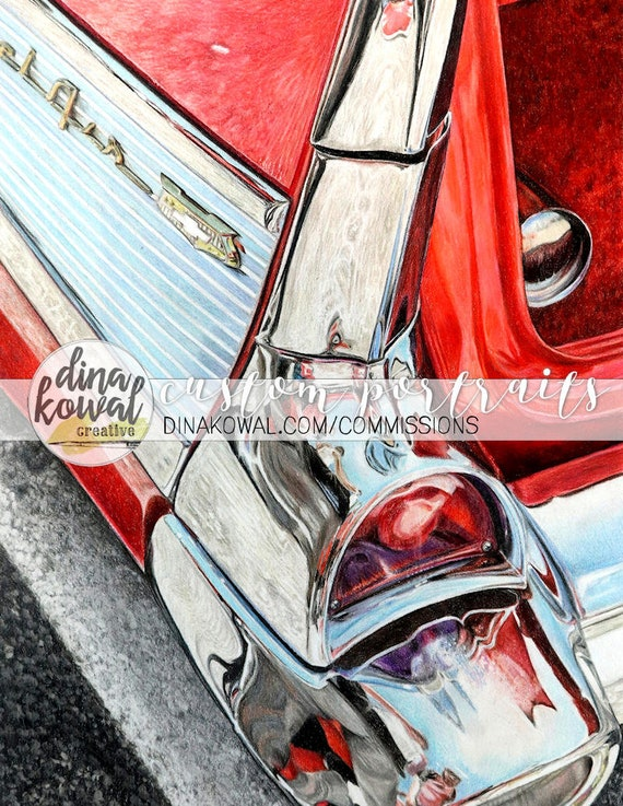 Notecards (set of 3) - Bel Air Reflections classic car drawing