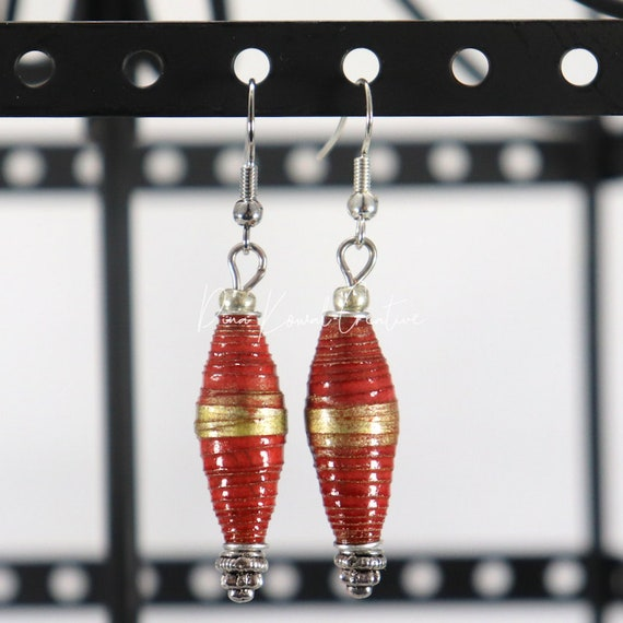 Paper Bead Earrings - Red Gold Long Bicone
