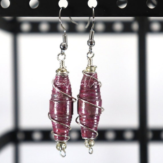 Paper Bead Earrings - Purple Wired