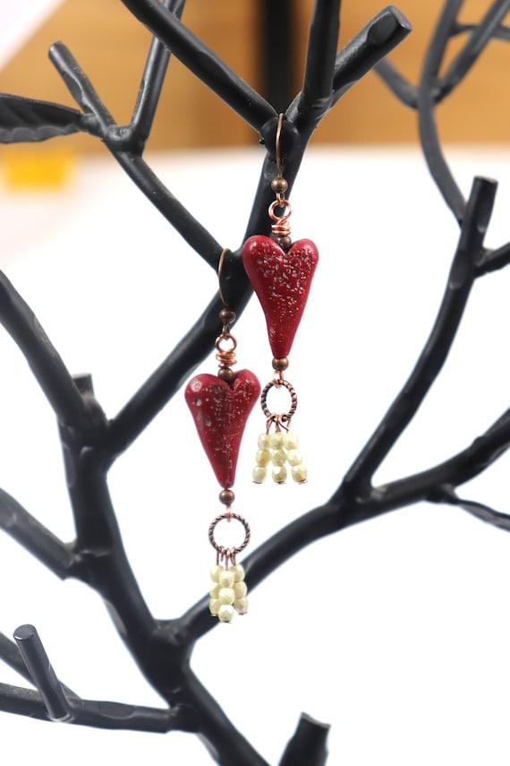 Tassel Heart Polymer Clay Art Bead Earrings