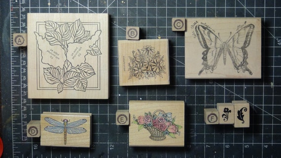 Rubber Stamps - YOU CHOOSE - wood mounted lot B2 - floral flower garden theme