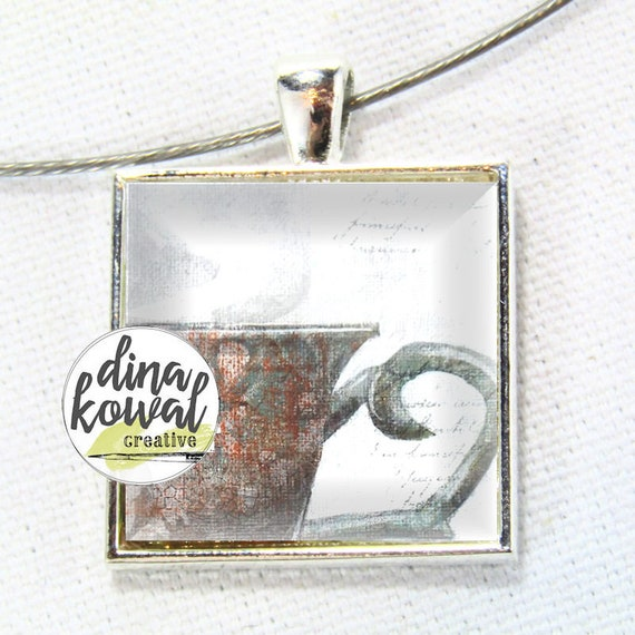 LAST ONE! Teacup - domed glass tile pendant necklace