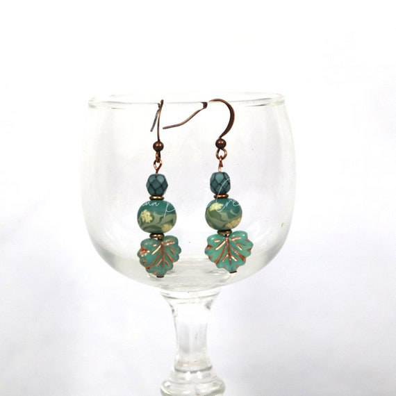 Czech Glass and Polymer Clay Bead Earrings - Turquoise Maple Leaf Drop