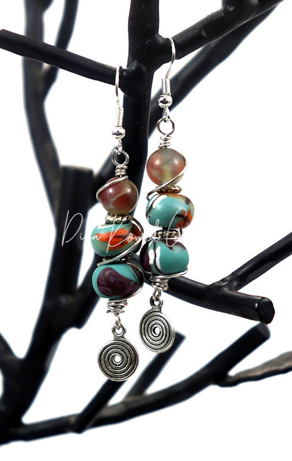 Polymer Clay Bead Earrings - Autumn Turquoise Drop