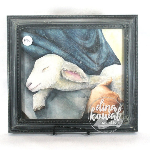"Held - Shepherd and Lamb -  8""x9"" - framed print"