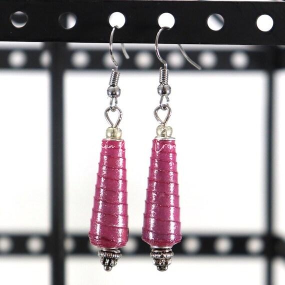 Paper Bead Earrings - Purple Ombre Cone