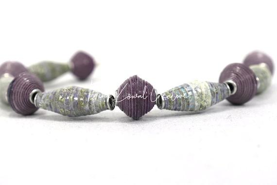 "Handmade paper beads - half strand (8"") - small batch, eco-friendly"