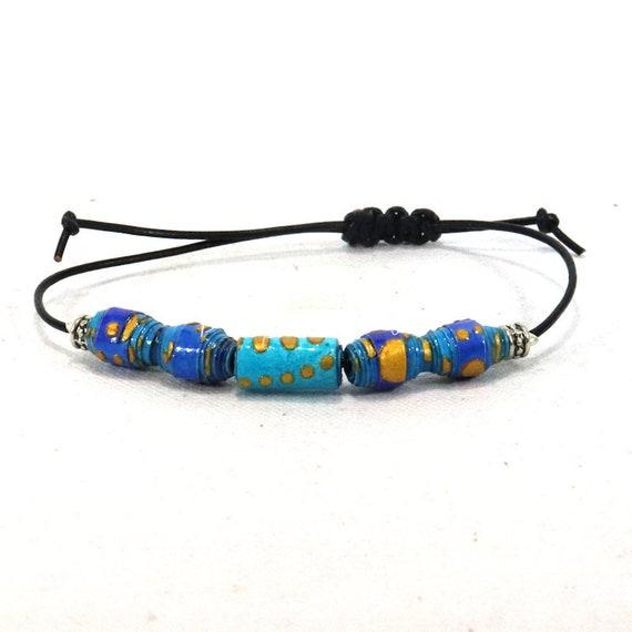 Adjustable leather bracelet - handmade paper beads