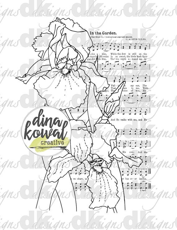 Coloring Sheet - In the Garden - Iris Hymn