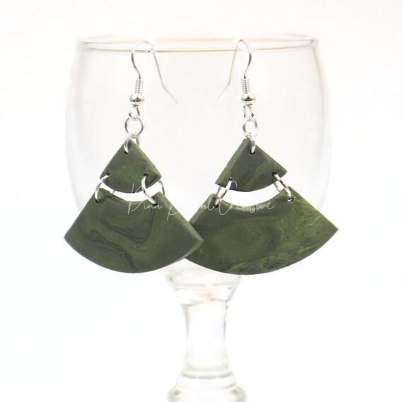 Polymer Clay Bead Earrings - Linked Triangle