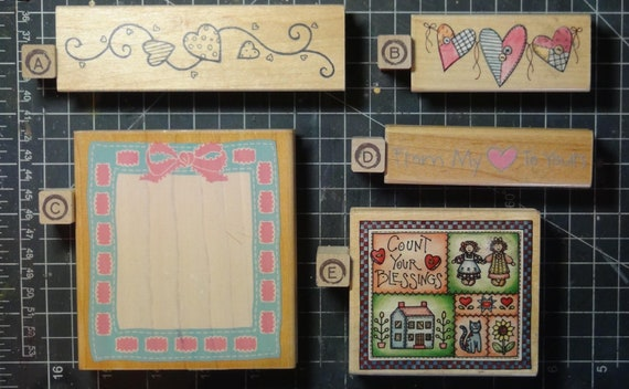 Rubber Stamps - YOU CHOOSE - wood mounted lot I3 - heart and quilt theme