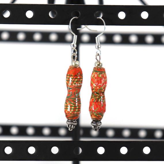 Paper Bead Earrings - Deep Orange Corset