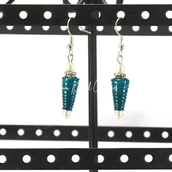 Paper Bead Earrings - Deep Teal Mini Cone