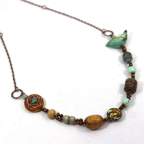 Bird Nest Necklace - eclectic mix of wood and glass with handmade paper and polymer clay beads