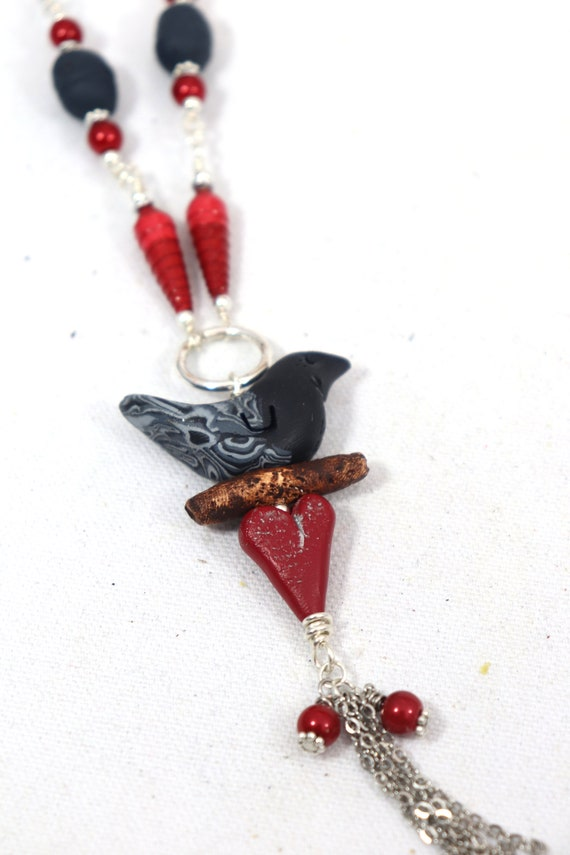 Bird Heart Totem Necklace - Czech glass beads, handmade paper and polymer clay beads