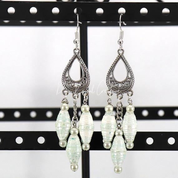 Paper Bead Earrings - Aqua Pearl Chandelier