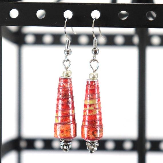 Paper Bead Earrings - Hyacinth Cone