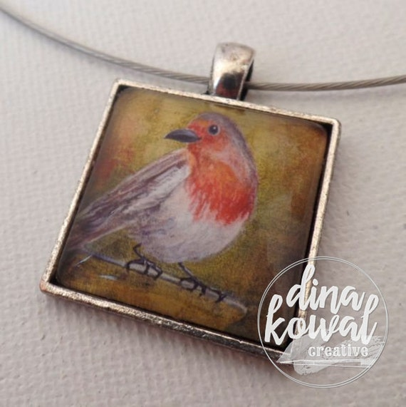 Robin - tea cup - domed glass tile pendant necklace
