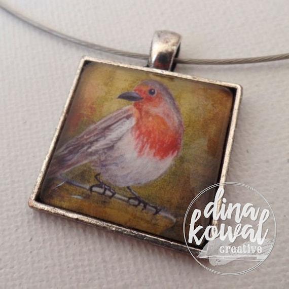 Robin - tea cup - domed glass tile pendant necklace