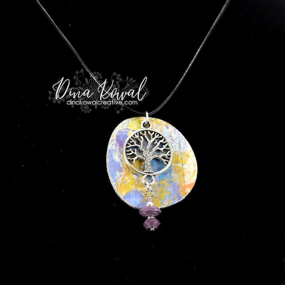 Paper Jewelry - unique Tree of Life reversible paper pendant on leather cord