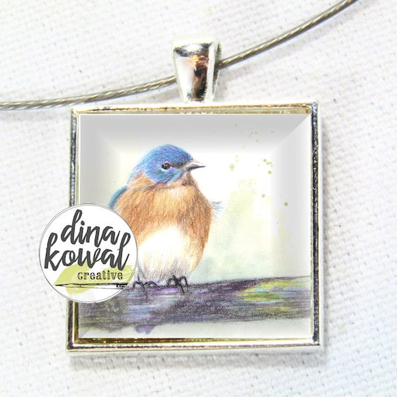 Bluebird - domed glass tile pendant necklace