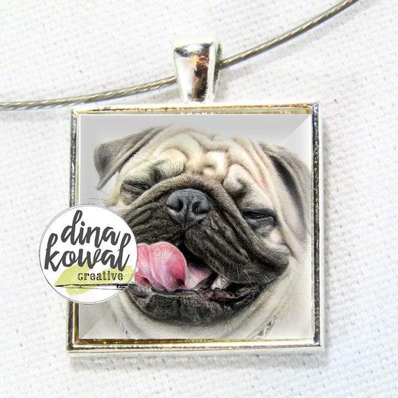 Big Poppy - pug dog domed glass tile pendant necklace