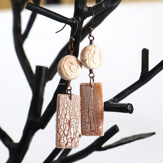 Polymer Clay Bead Earrings - Drop Crackle