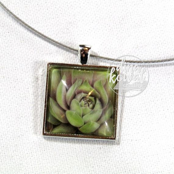 Succulent  - desert cactus floral domed glass tile pendant necklace