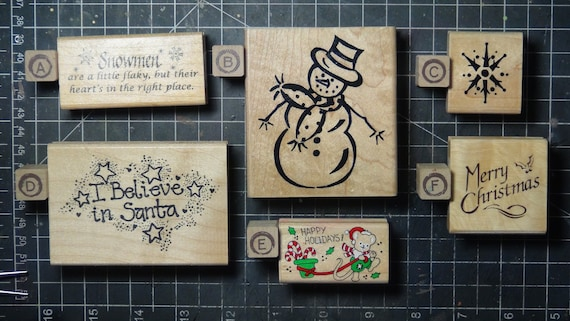 Rubber Stamps - YOU CHOOSE - wood mounted lot M1 - Christmas holiday theme