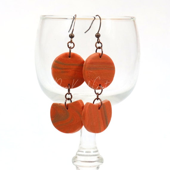 Polymer Clay Bead Earrings - Rustic Tiered Boho