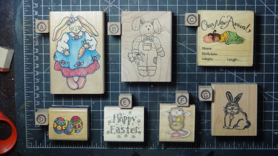 Rubber Stamps - YOU CHOOSE - wood mounted lot A2 - rabbits baby easter theme