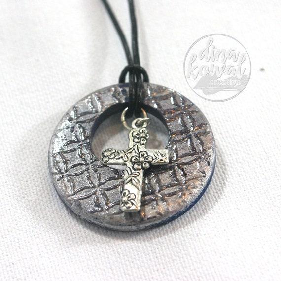 Blue open cross Christian wood pendant